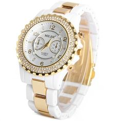 10.19$  Watch now - http://di33x.justgood.pw/go.php?t=109229803 - Miler A12841 Female Quartz Watch Round Dial Diamond Ceramic + Steel Watchband
