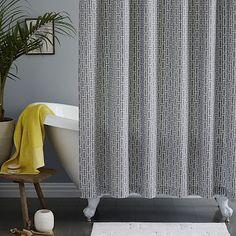 Mid-Century Bracket Geo Shower Curtain - Feather Gray #westelm