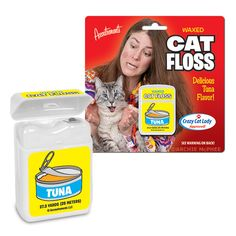 Tuna Flavored Cat Floss - When somebody says you have cat breath, we all know what they mean. That decaying seafood smell is the result of the appalling level of cat dental hygiene in the world today. We at Archie McPhee are finally going to do something about it.