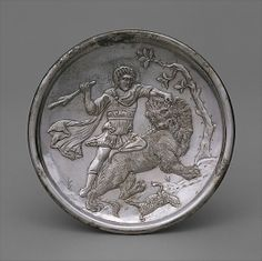 Silver Plate with David Slaying a Lion - Constantinople, Turkey - Byzantine - 629-630