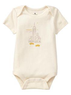 Adorable Cream Baby Gap New York Short Sleeve Onesie - Sweet Onesies