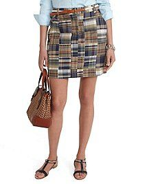 Brooks Brothers Madras Cotton Patchwork Skirt