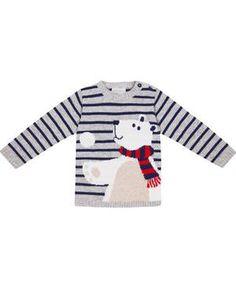 oJo Mama Bebe - Pullover Bär grau/blau gestreift