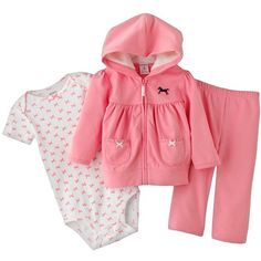 Carter's Horse Hoodie Set Baby (52 BRL) ❤ liked on Polyvore featuring baby, baby girl, kids, baby clothes and baby girl clothes