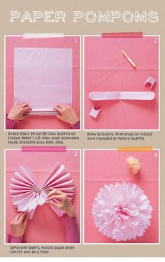 Ada and Darcy: DIY Paper Pom Poms I love these they make really cute party decorations! Tissue Paper Flowers, Diy Flowers, Paper Poms, Flower Diy, Paper Dahlia, Paper Balls, Lotus Flowers, Fabric Flowers, Pom Pom Decorations