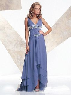 Chiffon multilayered blue v-neck sleeveless pleated applique high-low Mother Of The Bride Dress MBD1024003