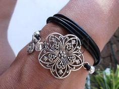 multi wrap 4 wraps black leather bracelet with silver от kekugi