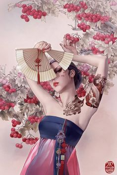 Girls and tattoos glamorous illustrations by Zhang Xiaobai | r3veblog