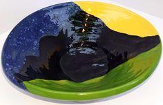Stoneware. Large Fruit Bowl. Mountain Ranges.