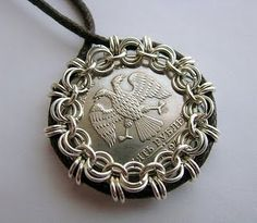 Chain Mail Bezel for Coin - interesting. I'm having trouble finding a bezel to fit some of the coins I want to make jewelry out of. This could be a solution.