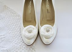 Ivory Chiffon Roses Shoe Clips by BizimFlowers on Etsy