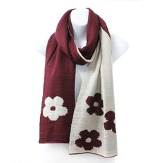 Womens Reversible Flower Knit Rectangle Winter Scarf