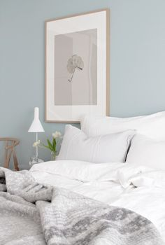 Eggshell Home Blog - Bedroom Light Blue Painted Walls. Scandinavian style. Image Source: Stylizimo. Click to see more on painting on the blog.