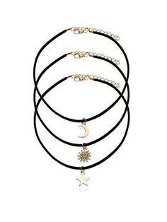 Casual Layered Velvet Moon Star Sun Choker Necklace c8bd92b8fa20