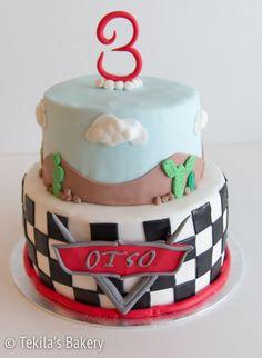 Cars fondant layer cake with Cars logo