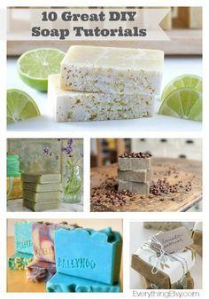 10 Great DIY Soap Tutorials–The Perfect Handmade Gift! - EverythingEtsy.com #diy #soap
