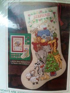 Sunset Noah's Ark Animals Christmas Stocking Counted Cross Stitch Kit VTG 1992 #Sunset #16Christmasstocking