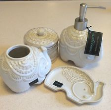 Cynthia Rowley Elephant Soap Pump Dispenser Toothbrush Holder Dish Bath Set 4 PC