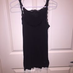 American eagle black tank top cami Size small. Good used condition. Lace detailing on top and bottom American Eagle Outfitters Tops Tank Tops