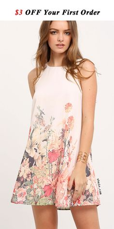 Multicolor Sleeveless Flower Print Dress