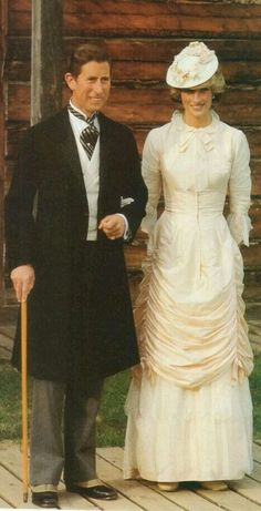June 29, 1983: Prince Charles and Princess Diana dressed up in Edwardian fashion for a Klondike evening barbecue at Ft. Edmonton in Edmonton, Canada, during the Royal Tour of Canada (Day 16)