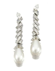 Natural Pearl and Diamond Pendant Earrings