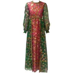 1960s Gino Charles Green and Pink Metallic Maxi Dress
