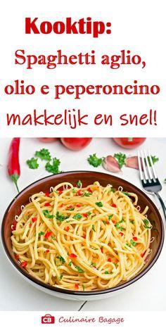 "Spaghetti aglio, olio e peperoncino; dat is Italiaans voor ""smullen""! Pasta Aglio E Olio, Olio Recipe, Cooking For Dummies, Good Food, Yummy Food, Food Goals, Summer Recipes, Bbq, Al Dente"