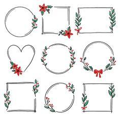 Bullet Journal Lettering Ideas, Bullet Journal Banner, Bullet Journal Writing, Bullet Journal Ideas Pages, Bullet Journal Inspiration, Christmas Frames, Christmas Wreaths, Christmas Cards, Christmas Card Template
