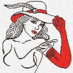 0 point de croix femme aux gants rouges - cross stitch girl with red gloves