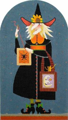 Melissa Shirley Designs | Hand Painted Needlepoint | Spider Witch