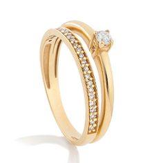 Solitário Ouro Amarelo e 20 Pontos de Diamantes