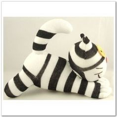 Handmade Sock Cheshire Cat Kitty Stuffed Animal Baby Toy