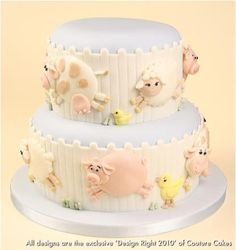 Couture Cakes: Baby Farm Animal Cake,, love it! Pretty Cakes, Cute Cakes, Farm Animal Cakes, Farm Animals, Fondant Cakes, Cupcake Cakes, Cake Candy, Farm Cake, Angel Food Cake