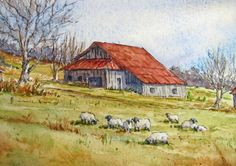 """My Christmas gift to you...a new watercolor tutorial!        The Minor Farm, Greene County, PA, 17"""" x 10.5"""", ink & watercolor on Fabrian..."""