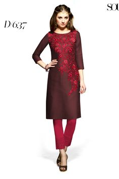 Designer party wear reyon brown kurti with embroidery work 637