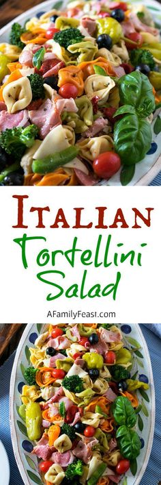 Italian Tortellini Salad ~ tri-color tortellini pasta, deli meats and cheeses, plus a variety of vegetables.this pasta salad is delicious! Pasta Recipes, Cooking Recipes, Healthy Recipes, Cooking Fish, Soup Recipes, Tortellini Pasta, Cheese Tortellini Salad, Soup And Salad, Meat Salad