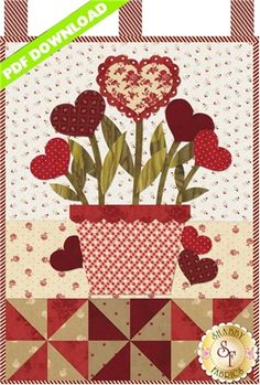 "Little Blessings - Blooming Hearts - PDF DOWNLOAD: THIS PRODUCT IS A PDF DOWNLOAD that must be downloaded and printed by the customer. A paper copy of the pattern will not be sent to you. This pattern is for the Blooming Hearts design. Wallhanging measures 12"" x 18""."