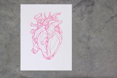 Letterpress poster -hart - fluor pink