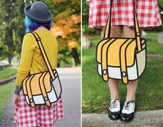 I want one!!!  Cartoon handbag. . .except it's real