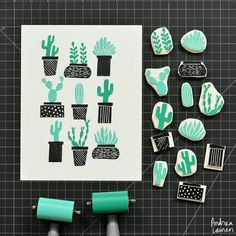 Tampons cactus / Cactus stamps by Andrea Lauren Stamp Printing, Printing On Fabric, Screen Printing, Handmade Stamps, Handmade Art, Eraser Stamp, Stamp Carving, Ideias Diy, Linocut Prints