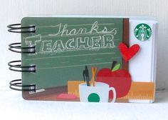 STARBUCKS TEACHER Appreciation Upcycled gift card Spiral Notepad Notebook