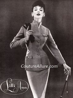 Also from 1955, this suit shows a brilliant use of pleats. Fashioned of a blend of silk, mohair, and worsted, the suit has Austrian crystal accents. Sold in 1955 for about $100.00 (about $814.00 in today's dollar.)