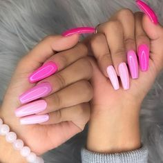 There are three kinds of fake nails which all come from the family of plastics. Acrylic nails are a liquid and powder mix. They are mixed in front of you and then they are brushed onto your nails and shaped. These nails are air dried. Light Pink Nail Designs, Light Pink Nails, Pink Nail Art, Cool Nail Designs, Art Designs, Design Ideas, Pastel Nails, Pink Ombre Nails, Pink Summer Nails