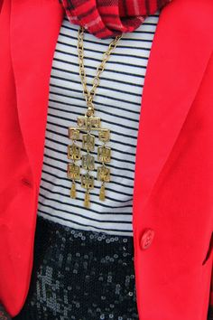 Thrift and Shout: Cute Outfit of the Day: A Quadruple Christmas Mix; holiday fashion, Target sequin skirt, Gap striped shirt, red blazer, asymmetrical haircut, thrift, thrift store, pattern mixing, red hair, undercut