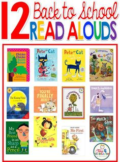 The best back to school read alouds for the first day of school to read to kindergartners and first graders.Selections include Chicka, Chicka Boom Boom, Too Much Gkue, Pete the Cat and more.