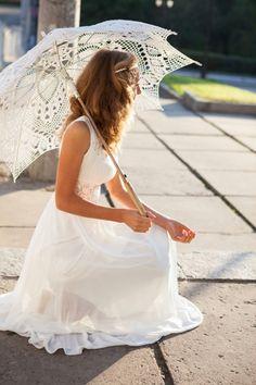Pretty sun umbrella - Battenberg Lace, about $40 through Lace Parasols, Undercover Elegance.