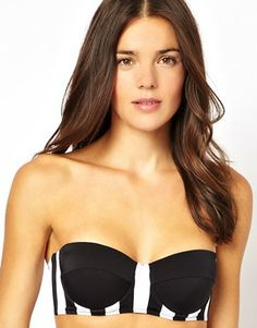 ASOS Wide Stripe Longline Bikini