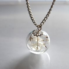 Dandelion Necklace Make A Wish 05 Glass Bead Orb Silver Necklace Botanical