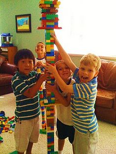 Lego Party Game -- create towers in teams, tallest tower in the alloyed time wins!!